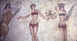 4th century AD mosaic from Villa del Casale Scicily of female athletes receving victory awards